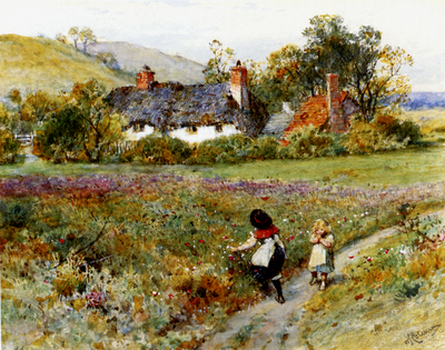 Coleman William Stephen Children Playing On A Path Cottages Beyond