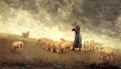 Homer Winslow Shepherdess Tending Sheep
