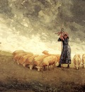Homer Winslow Shepherdess Tending Sheep