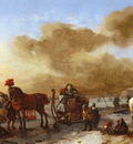 Wouwerman Philips A Winter Landscape With Horse Drawn Sleds
