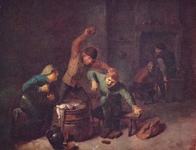 Adriaen Brouwer Bauernrauferei beim Kartenspiel c  1630 1640