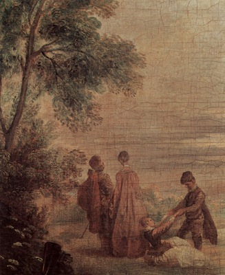 jean antoine watteau the halt during the chase detail