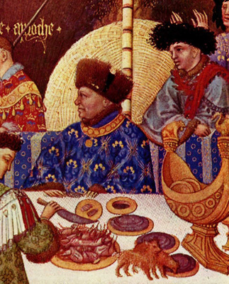 Tres Riches Heures du Duc Jean de Berry January detail with nef