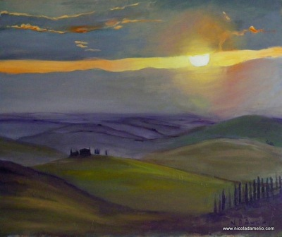 Sunset on the Crete Hills of Siena