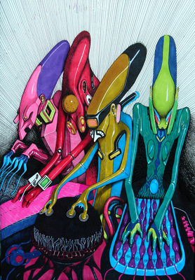 four electro muzic aliens