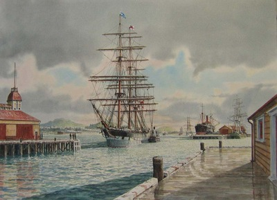 An early morning and the Shaw Saville ship Crusader berthing  at Queen's Wharf, Auckland. 1890's