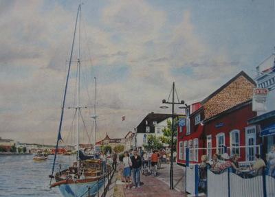Fredrikstad, Norway.  Waterside cafés.