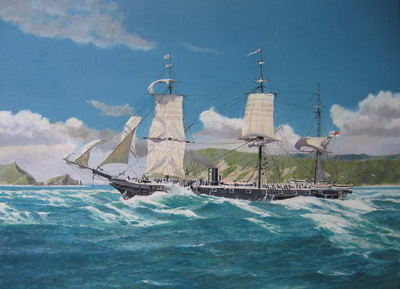 H.M.S. Orpheus strikes the Manukau Bar, 7 February, 1863.
