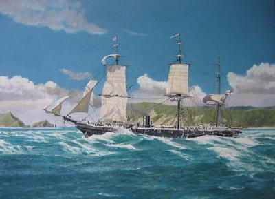 H.M.S. Orpheus strikes the Manukau Bar, 7 February, 1863.