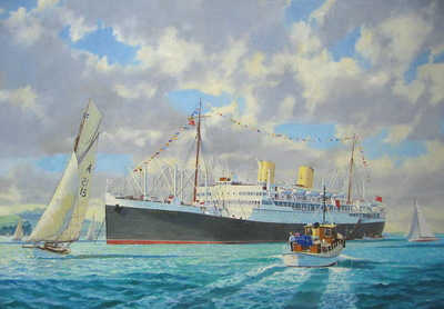 M.V.Rangitata at anchor and dressed for an Auckland Anniversary Day.