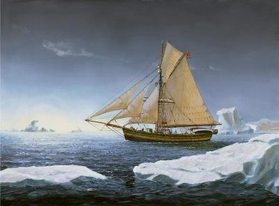 Roald Amundsen's cutter Gjøa navigating the Northwest Passage.