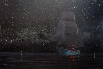 Starlight, a calm night and the brigantine Soren Larsen.