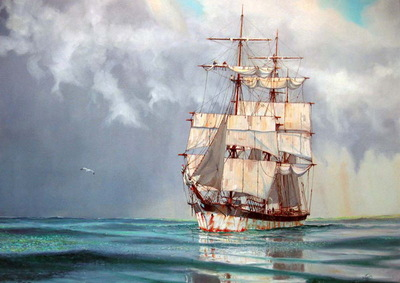 THE BARQUE WHITEPINE SHORTENING SAIL FOR A SQUALL