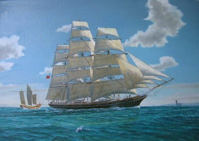 The Cutty Sark under all plain sail in the Formosa Strait.
