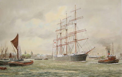 The New Zealand barque Pamir towing down the Thames past Greenwich, April 20th. 1948.
