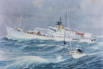 The Rescue of the Forbes from the catamaran Ramtha by the crew of the Monowai during the storm of June 1994.