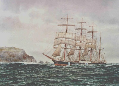 The four-masted barque Pamir entering Port Nicholson, Wellington's harbour on 29 July 1941.