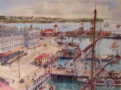 View of old Auckland from the level of the masthead of a ship looking south-west over Queen's Wharf towards St. Mary's Bay and Ponsonby. Circa 1904.