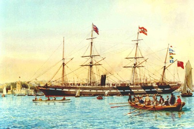 The S.S.Great Britain arriving at Port Jackson, Sydney in 1852.