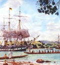 American whaleships at Mangonui, Doubtless Bay in the North Island of New Zealand. 1840's.