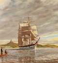 The Craig Line barque Louisa Craig sailing up the Northern Wairoa River to Kopu.