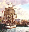The Craig Line barque Marjorie Craig alongside in Auckland circa. 1906/1907.