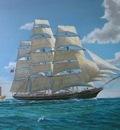 The Cutty Sark under all plain sail in the Formosa Strait.