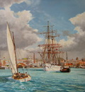 The barque Clan Macleod leaving Auckland, New Zealand.