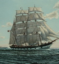 The barque James Craig leaving Sydney with Sydney North Head in the background.