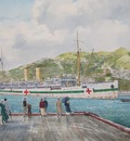 The hospital ship T.S.S. Maheno arriving in Wellington in December 1915 with wounded troops from Gallipoli.