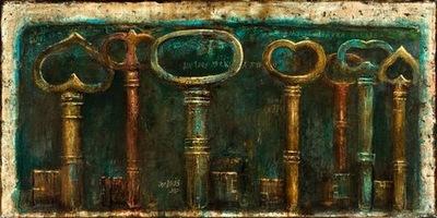 Forgotten Keys 24 x 48 in, mixed media on canvas