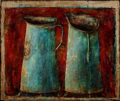 Rusty Jugs 40 x 48 in, mixed media on canvas