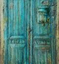 Blue Door 52 x 35 in, mixed media on canvas