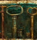 Forgotten Keys 24 x 48 in, mixed media on canvas