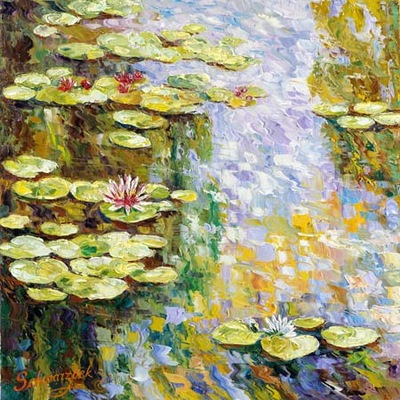 tribute to monet diptych l