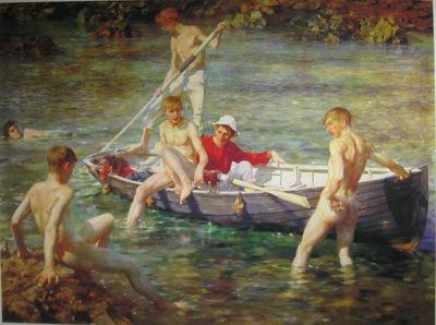 tuke, henry scott 1858–1929, ruby, gold and malachite,