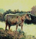 Paul Gosselin - Cow in the field at sunrise - Luminism