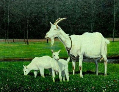 Paul Gosselin - Goat with Lambs - Hyperrealism