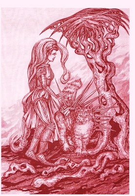 fantasy warrior with cat in red