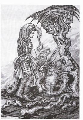 fantasy warrior with cat