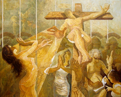 "Leonard PERVIZI, ""INRI"" 200x250cm, oil on canvas"