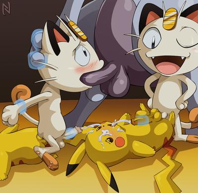 Nextime mewtwo clones x meowth x pikachu